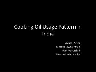 Cooking Oil Usage Pattern in India