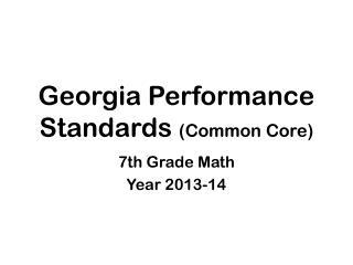 Georgia Performance Standards (Common Core)