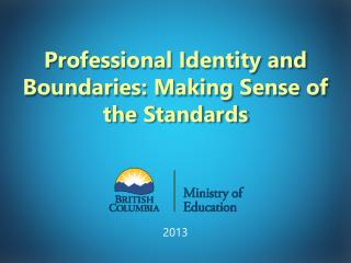 Professional Identity and Boundaries: Making Sense of the Standards