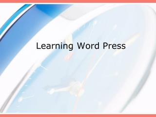 Learning Word Press