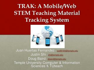 TRAK: A Mobile/Web STEM Teaching Material Tracking System