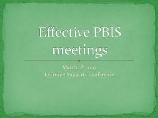 Effective PBIS meetings