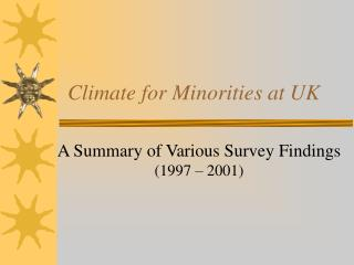 Climate for Minorities at UK