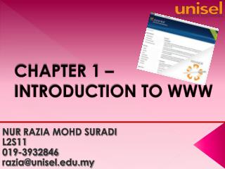 CHAPTER 1 –  INTRODUCTION TO WWW