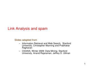 Link Analysis and spam