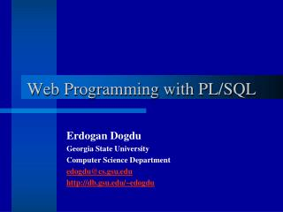 Web Programming with PL/SQL