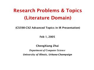 Research Problems & Topics  (Literature Domain)