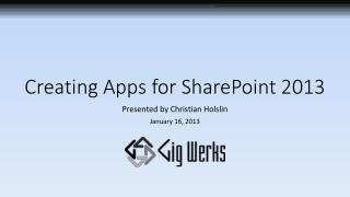 Creating Apps for SharePoint 2013