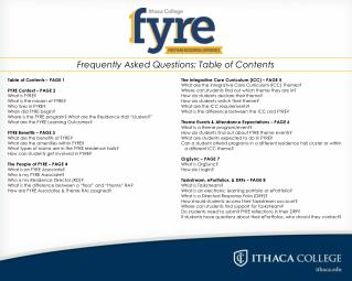 Table of Contents – PAGE 1  FYRE Context – PAGE 2 What is FYRE? 	  What is the mission of FYRE? 	 Who lives in FYRE? Whe