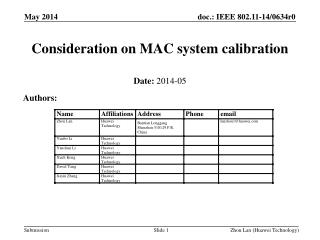 Consideration on MAC system calibration