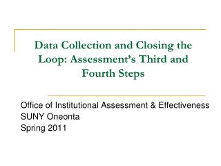 Data Collection and Closing the Loop: Assessment's Third and Fourth Steps