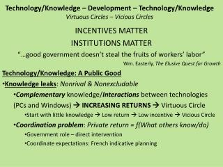 Technology/Knowledge  – Development – Technology/Knowledge Virtuous Circles – Vicious Circles
