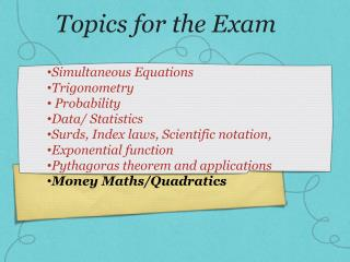 Topics for the Exam