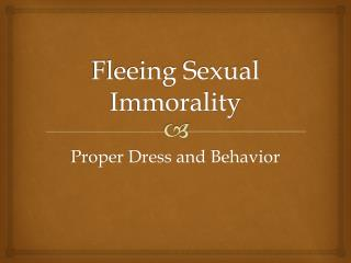 Fleeing Sexual Immorality