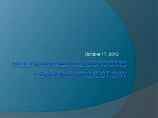 Multi-Graded classrooms Learning project day