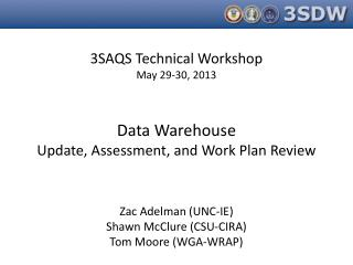 3SAQS Technical Workshop May 29-30, 2013 Data Warehouse Update, Assessment, and Work Plan Review