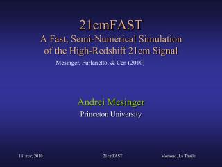 21cmFAST A Fast, Semi-Numerical Simulation of the High-Redshift 21cm Signal
