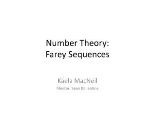 Number Theory:  Farey  Sequences