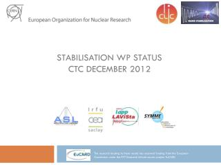 Stabilisation WP Status CTC December 2012