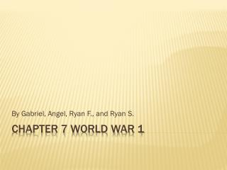 Chapter 7 World war 1