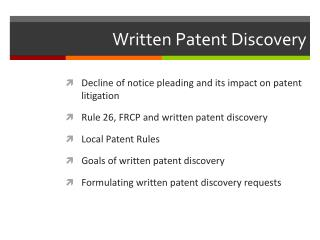 Written Patent Discovery