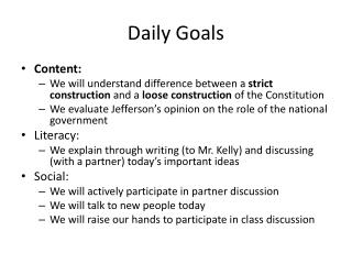 Daily Goals