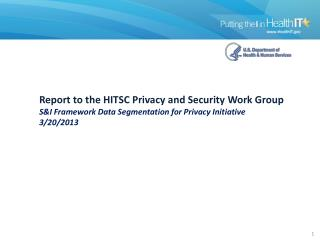 Report  to the HITSC  Privacy and Security Work Group S&I Framework Data Segmentation for Privacy Initiative  3/20/2