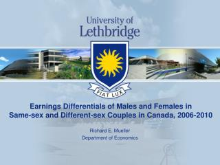 Earnings Differentials of Males and Females in Same-sex and Different-sex Couples in Canada, 2006-2010