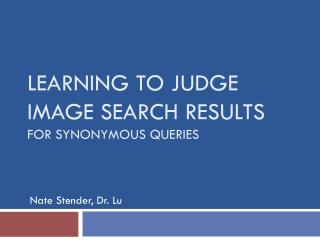 Learning to Judge  Image Search Results for Synonymous Queries