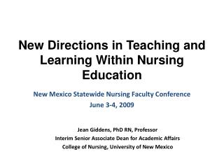 New Directions in Teaching and Learning Within Nursing Education
