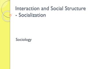 Interaction and Social Structure - Socialization