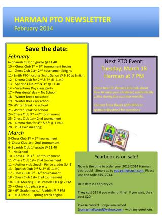 HARMAN PTO NEWSLETTER February 2014