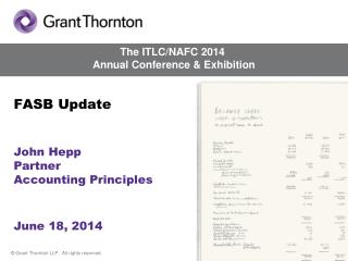 FASB Update John Hepp Partner Accounting Principles  June 18, 2014