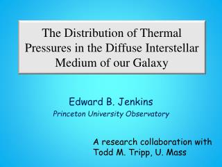 The Distribution of Thermal Pressures in  the Diffuse  Interstellar Medium of our Galaxy
