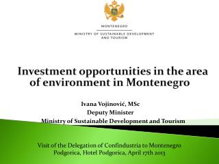 Investment opportunities in the area of environment in Montenegro