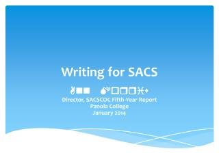 Writing for SACS