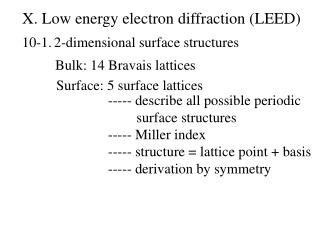 X. Low  energy electron diffraction (LEED)