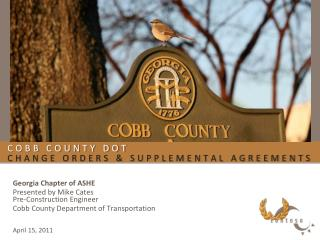 Cobb County DOT  Change Orders & Supplemental Agreements