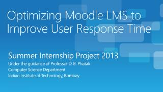 Optimizing Moodle LMS to Improve User Response Time