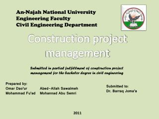 An- Najah  National University Engineering Faculty Civil Engineering Department