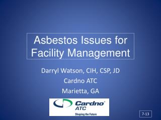 Asbestos Issues for Facility Management