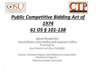 Public Competitive Bidding Act of 1974   61  OS § 101-138