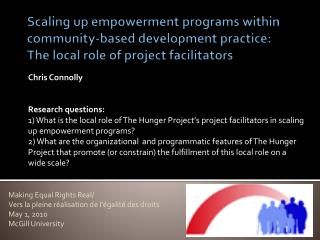 Scaling up empowerment programs within community-based development practice:  The local role of project facilitators
