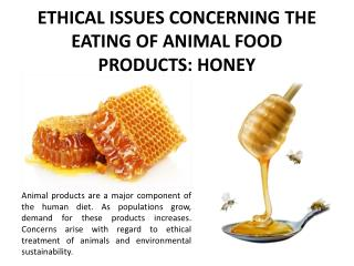 ETHICAL ISSUES CONCERNING THE EATING OF ANIMAL FOOD PRODUCTS:  HONEY