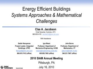 Energy Efficient Buildings Systems Approaches & Mathematical Challenges