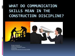 What do communication skills mean in the Construction Discipline?