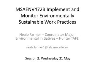 MSAENV472B Implement and Monitor Environmentally Sustainable Work Practices