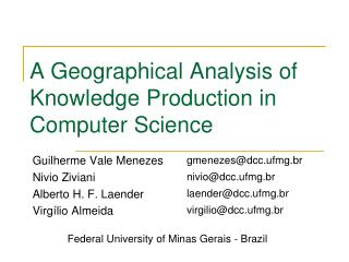 A Geographical Analysis of Knowledge Production in Computer Science