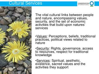 The vital cultural links between people and nature, encompassing values, security, and the set of economic activities t