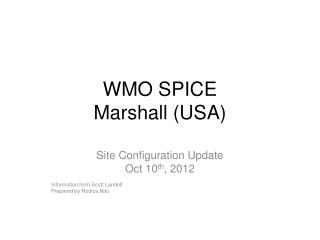 WMO SPICE Marshall (USA)